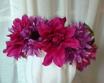 Flower Crown- fuschia- purple-headpiece- festival crown