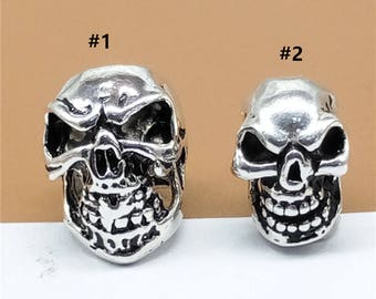 4 Sterling Silver Skull Beads, Large Hole Skull Beads, 925 Silver Skull Beads, Skull Bracelet Beads, Necklace Beads 6.5mm Hole - TF406
