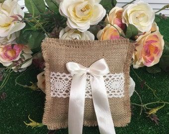 Rustic Ring Pillow,Ring Pillow,Wedding Ring Pillow,Wedding Pillow,Lace Ring Pillow,Burlap Ring Pillow,Rustic Ring Bearer,Burlap Pillow