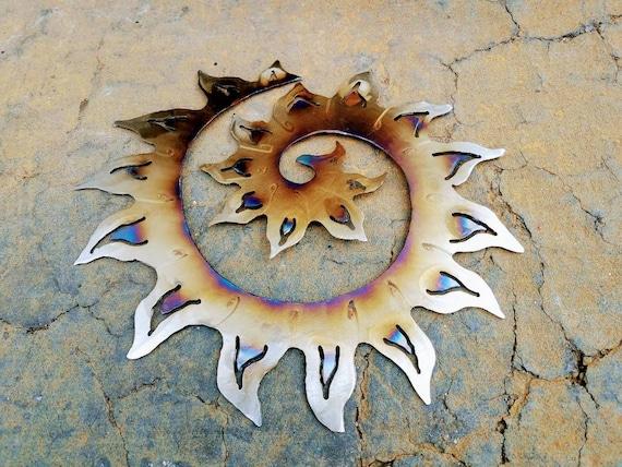 Sun Swirl, Sunburst, Recycled Metal Wall Art, Metal Sculpture