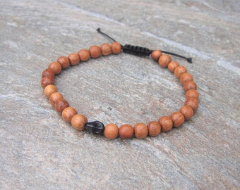 wood skull bead bracelet 6mm
