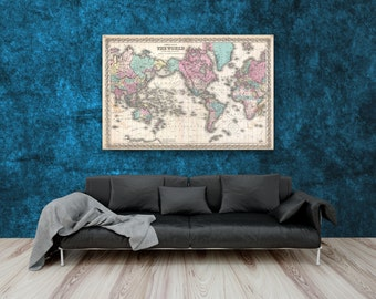 Watercolor world map print 12x18 16x24 20x30 24x36 36x54 laminated vintage world map print 1855 colton map poster large format poster gumiabroncs Choice Image