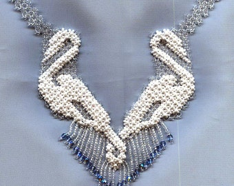 Beading Pattern seed beads beaded Swan necklace instructions beading netting stitch necklace net lace swans beadwork beading tutorial how to
