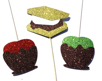 Autumn Sweet Treats Photo Booth Props - Part of our Fall Favorites Collection - Set of 3 Photo Booth Props with GLITTER- Limited Edition