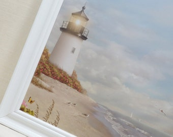 Magnetic Board-Wall Decor-Dry Erase Memo Board-Magnet Board-Lighthouse Design-Framed Memo Board-includes matching magnets