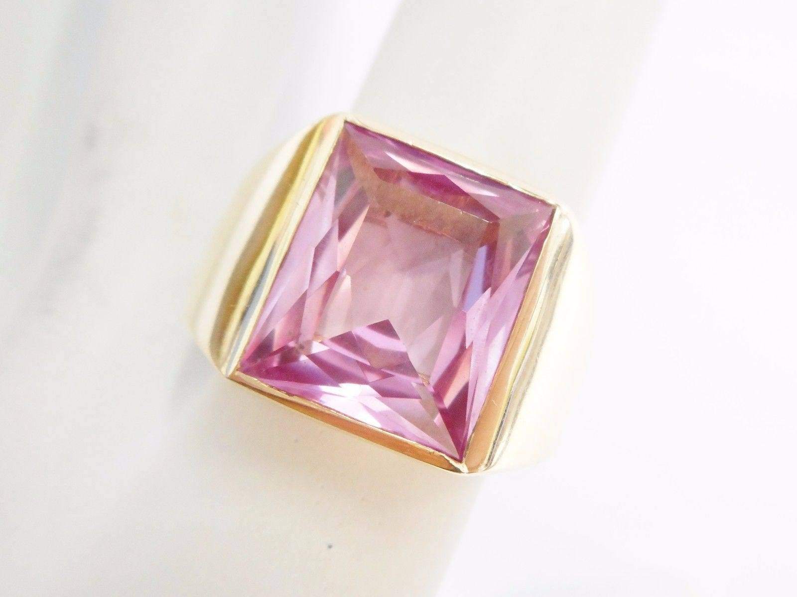 Men\'s Ring Pink Sapphire Ring Men\'s Jewelry Gold