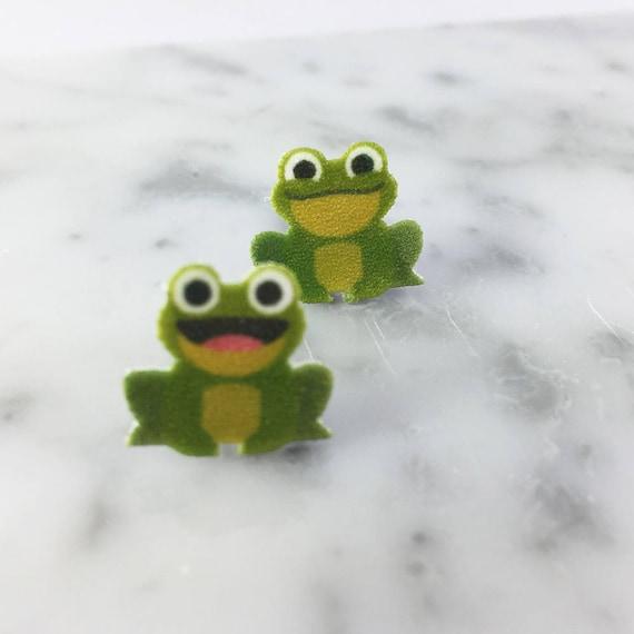 green frog, toad, stud earring, print on plastic, shrink plastic, stainless stud, handmade, les perles rares