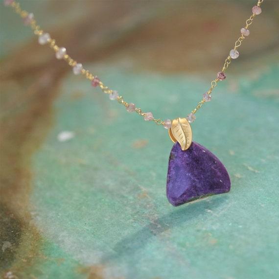 "Old Stock Sugilite 20 ct Pendant on Gold Rose Quartz 18"" chain Necklace"