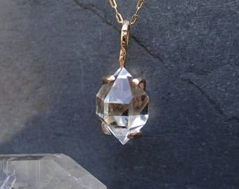 Herkimer Diamond Necklace, Herkimer Pendent, Claw Prong Setting, Solid 14k Gold or Gold Filled, Diamond Quartz Necklace