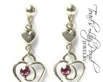 Heart Jewelry Earrings | Lavender Heart Earrings | Rhinestone Earrings Heart | Sparkly Earrings | Small Heart Earrings | Love Hearts