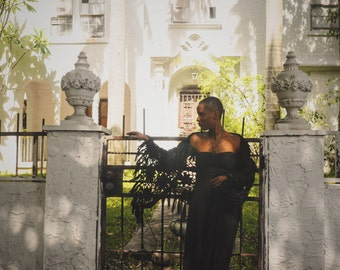 Strapless Black Cotton Dress