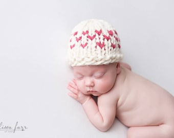 Knit Hat Baby, Valentine Photo Prop, Heart Newborn Hat, Fair Isle Hearts- Primrose Hat
