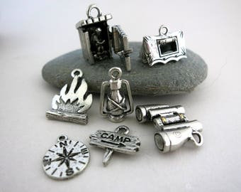 Camping Charm 7 Pc Set, Cast Antique Pewter, Made in USA, Ready to Ship