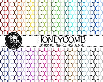 50% off SALE!! 48 HoneyComb Digital Paper • Rainbow Digital Paper • Commercial Use • Instant Download • #HONEYCOMB-103-1