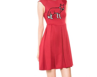 Womens fox dress party dresses retro Tunic fit and flare skirt a line foxes screen print cute