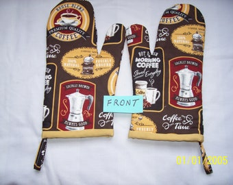 Coffee Time Oven Mitts