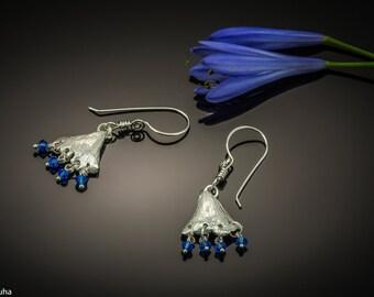Lil Ginkgo silver leaf earrings with blue Swarovski