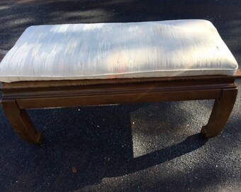 My MING-A-LING / Long Rectangular Wood Ming Style Bench / Chinoiserie Chic / Hollywood Regency / 37 1/2 Inches Long