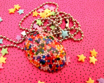 Rainbow Coalition - Resin Sprinkle Necklace
