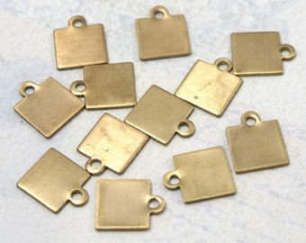 Small Brass Engraving Square Charms (16X) (M684)