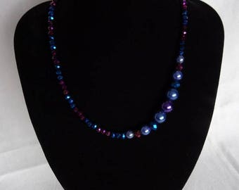 Necklace & bracelet (optional), blue and purple glass pearls, magnetic clasp on necklace, UK shop