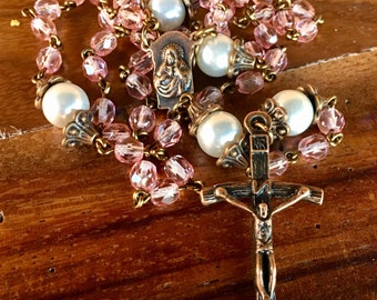 Rosary, handmade with pink czech crystal beads, glass pearl beads and tibetan copper crucifix and station