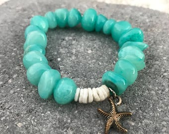 Turquoise Rock and Shell Bracelet