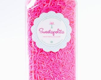 8oz (1 cup) Bright Pink Jimmies, Gluten-Free, Vegan, Skinny Sprinkles, Pink Sprinkles, Canadian Sprinkles