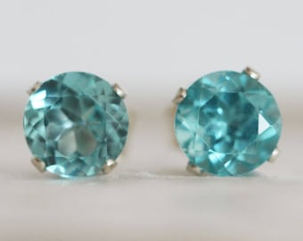 Genuine Blue Apatite Studs Earrings 5 mm  Solid Sterling Silver