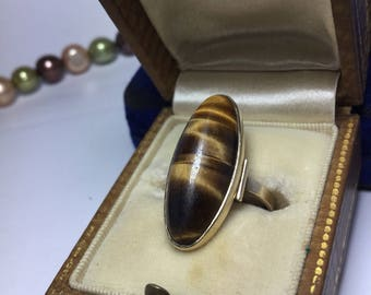 Vintage Tigers Eye 9ct Gold Ring - 1960s