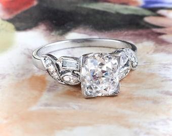 Antique Cushion Cut Engagement Ring Circa 1940's Diamond Wedding Anniversary Ring Platinum