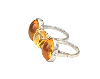 Two Finger Golden Citrine Silver Ring with US size 7.25 and 8.25