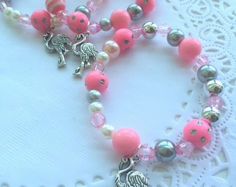 Flamingo party, flamingo bracelet, flamingo jewelry, birthday favor, kids jewelry, beaded bracelet, SET of TEN.