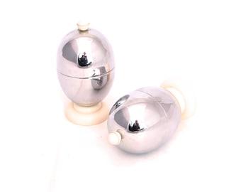 Vintage Pair of Heatmaster Chrome & Bakelite Insulated Egg Cups, Art Deco Egg Cups, Egg Warmer, Egg Cozies, Retro Egg Cups, Egg Holders