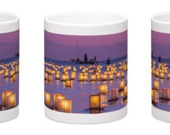 15 oz. Coffee Mug w/ Floating Lanterns in Honolulu, Oahu, Hawaii