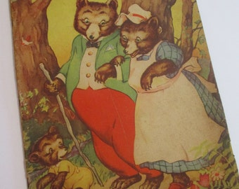 Vintage Childrens Book-The Three Bears-Whitman-1941-Linen