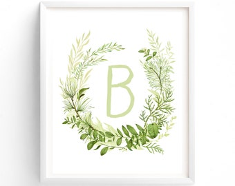 Letter B, Fernery Series, Printable Letter Monogram, Nursery Art. Art Prints, Baby Girl Nursery, Wall art Prints