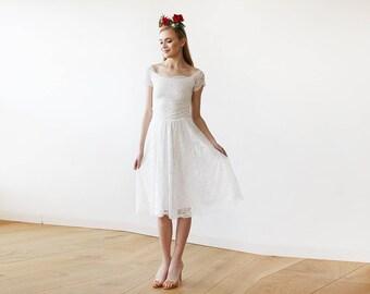 Ivory Bridesmaids Off-The-Shoulder Short Sleeves Lace Midi Dress Bridesmaids Ivory Dress 1158