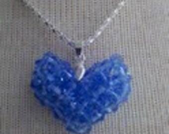 Blue puffy heart pendant handmade, free shipping!