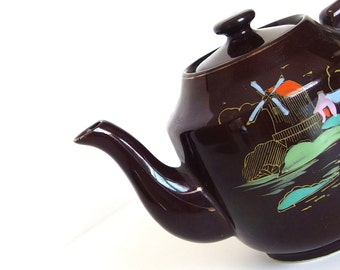 Vintage Dark Brown Ceramic Japan Teapot