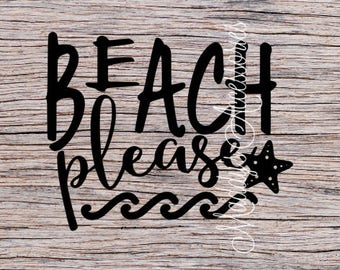Iron on decal - Beach Please - baby / child clothing accessory