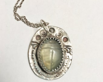 new scarab sterling and fluorite pendant necklace