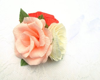 Paper Flower Corsage/ Wrist Corsage/ Wedding Corsage/ Bridal Shower/ Peper Flower Corsage/ Ivory, Peach and Coral Corsage