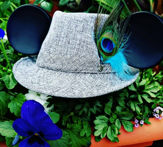 Mickey Mouse Ears. Mickey Mouse Fedora Hat. Original Disneyland Hat. Mickey Mouse Ears. Custom Disney Hat. Peacock feather.