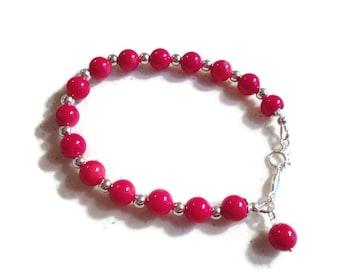 Red Bracelet - Coral Gemstone Jewelry - Sterling Silver Jewellery - Beaded