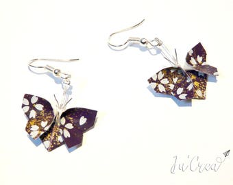 Origami butterflies purple gold earrings
