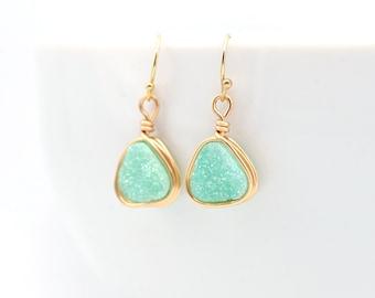Mint Druzy Earrings | Mint Earrings | Green Earrings | Mint & Gold Earrings | Wire Wrapped Druzy Jewelry | Gifts For Her
