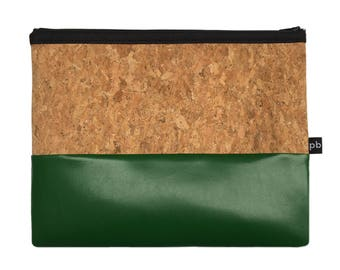 Pb_pochette Large, green and cork leather clutches, handmade, hand-held bag, glove compartment, door tricks
