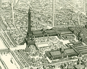 1897  Antique Eiffel Tower Paris Print Larousse Large Size 115 Years. Original Vintage view of Paris.