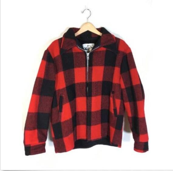 Vintage 1960's Red & Black Union Made, Mackinaw, Shadow Plaid Bird Hunting Coat/ Retro Sixties Buffalo Plaid Wool Cruiser